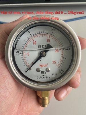Đồng hồ áp suất 25 bar MR20 Suchy có dầu chống rung