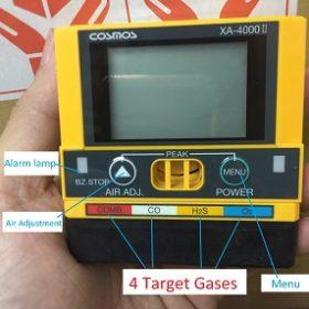 Trên máy đo 4 loại khí XA-4400II có đơn vị đo ppm cho khí CO và H2S